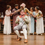 Amelia Pedlow, John Tufts, Chris Thorn, Nance Williamson, Kate Hamill, and Kimberly Chatterjee in Primary Stages' 2017 Production of PRIDE AND PREJUDICE - photo by James Leynse
