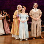 Amelia Pedlow, John Tufts, Nance Williamson, Kate Hamill, and Chris Thorn in Primary Stages' 2017 Production of PRIDE AND PREJUDICE - photo by James Leynse