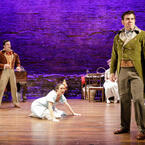 John Tufts, Kate Hamill, and Jason O'Connell in Primary Stages' 2017 Production of PRIDE AND PREJUDICE - photo by James Leynse
